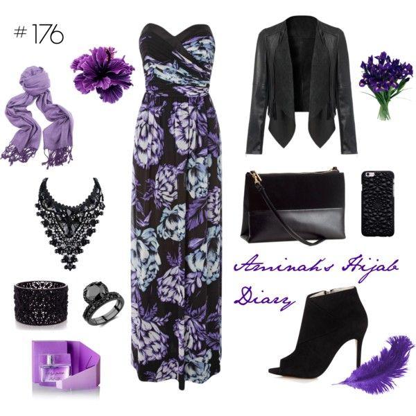 Aminah´s Hijab Diary #hijab #muslimah #modest #fashion #style #look #outfit #ootd #dress #black #flowerprint #purple #jacket #evening
