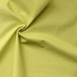 Katoen stof met groen geometrisch patroon op gele achtergrond