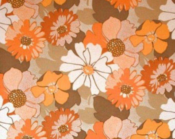 Vintage Original Orange Come On Get Happy Flower Wallpaper Etsy Vintage Flowers Wallpaper Flower Wallpaper Wallpapers Vintage