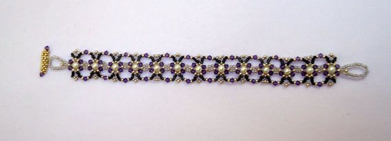 Swarovski crystal braceletpearl braceletseed bead by JoolsbyAveril