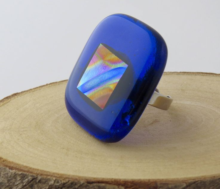 Statement Fused Glass Ring by TheGlassNeedleco on Etsy