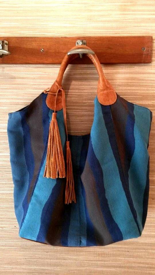 Lona y cuero. Tamaño grande. #bags