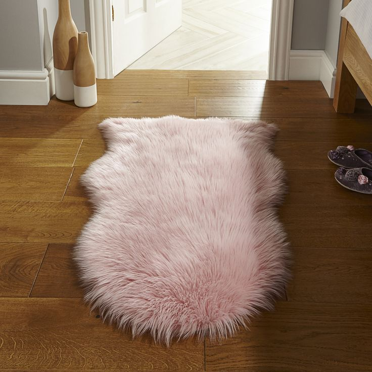 Flair Faux Fur Sheepskin Rug in Pink Next Day Delivery