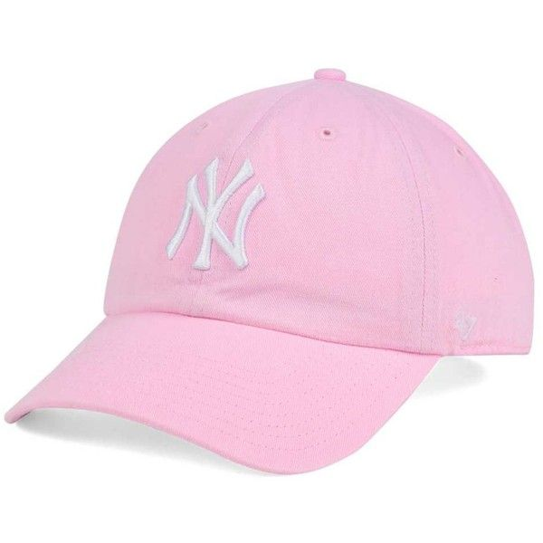 '47 Brand Women's New York Yankees Pink/White Clean Up Cap ($22) ❤ liked on Polyvore featuring accessories, hats, lightpink, major league baseball caps, yankees baseball hat, yankees baseball cap, mlb baseball caps and white baseball cap
