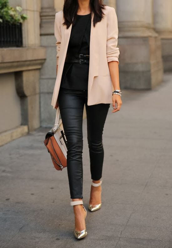 nude blazer with black bottom outfit idea