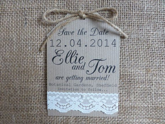 Lace Save the Date tag Wedding handmade pearl by PaperFudge, £1.50