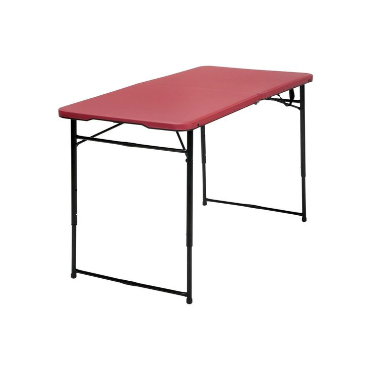 Indoor Outdoor Adjustable Height Folding Tailgate Table - 4 ft. - Red - Cosco
