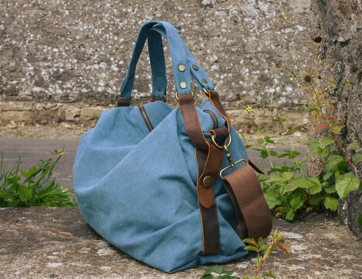 Canvas Bags – Nordlicht handbag / shoulder bag leather, canvas – a unique product by NordlichtBags on DaWanda