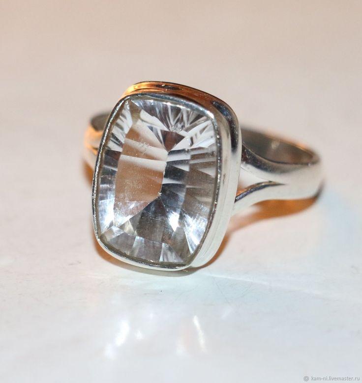 Кольцо горный хрусталь натуральный алмазная огранка серебро 925 – купить в интернет-магазине на Ярмарке Мастеров с доставкой