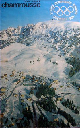 CHAMROUSSE ISERE FRANCE - Xè JEUX OLYMPIQUES D'HIVER GRENOBLE 1968 - affiche originale par Perceval