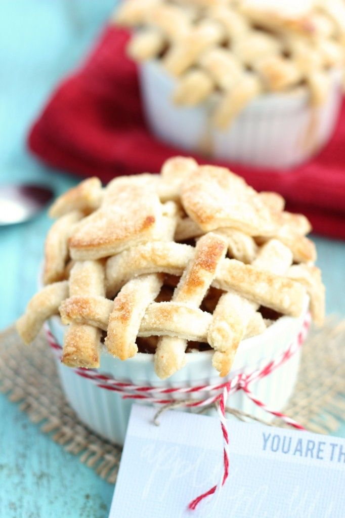 """A great Valentine's day dessert idea! Two servings of a fresh apple pie complete a small lattice crust topping and crust cut-out hearts. A cute tag/pick that says """"You are the apple of my eye."""""""