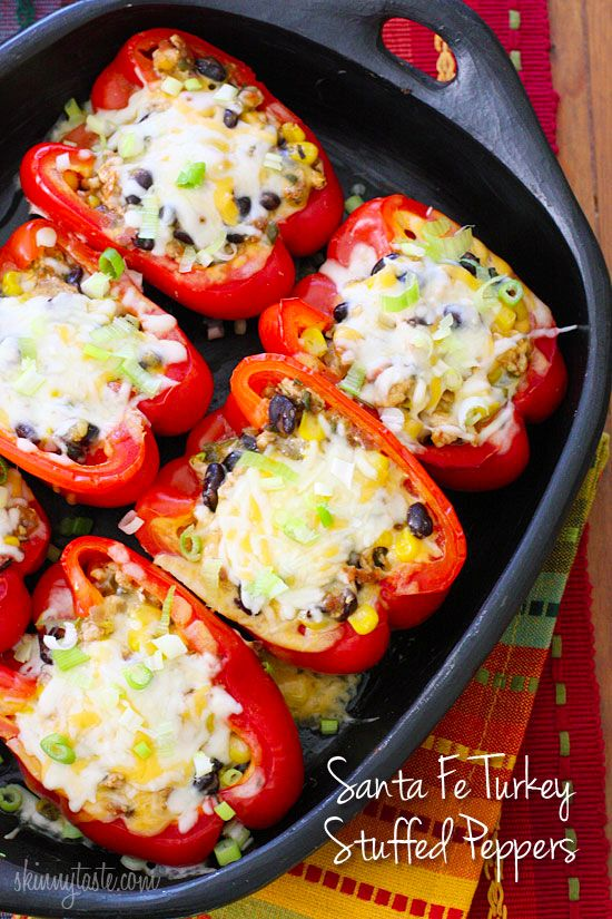 Santa Fe Turkey Stuffed Peppers. May modify for lunch by omitting corn and cheese. |skinnytaste.com