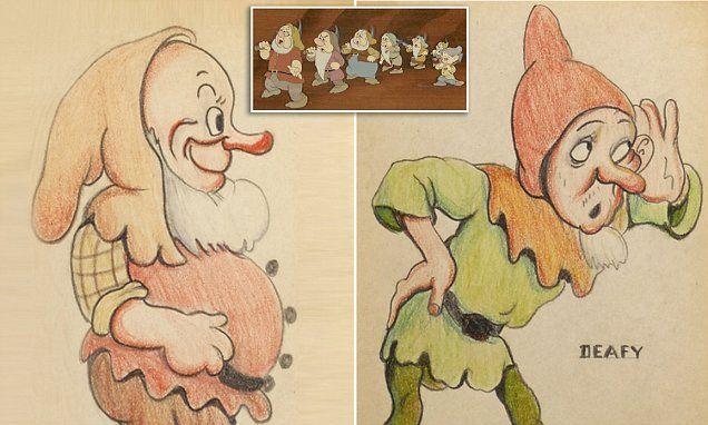 Original Snow White art reveals the un-PC brigade of original dwarves #DailyMail