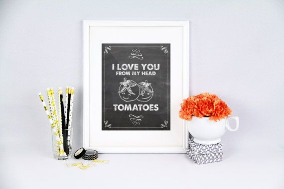 Kitchen pun I love you tomatoes i love you by PureJoyPrintables