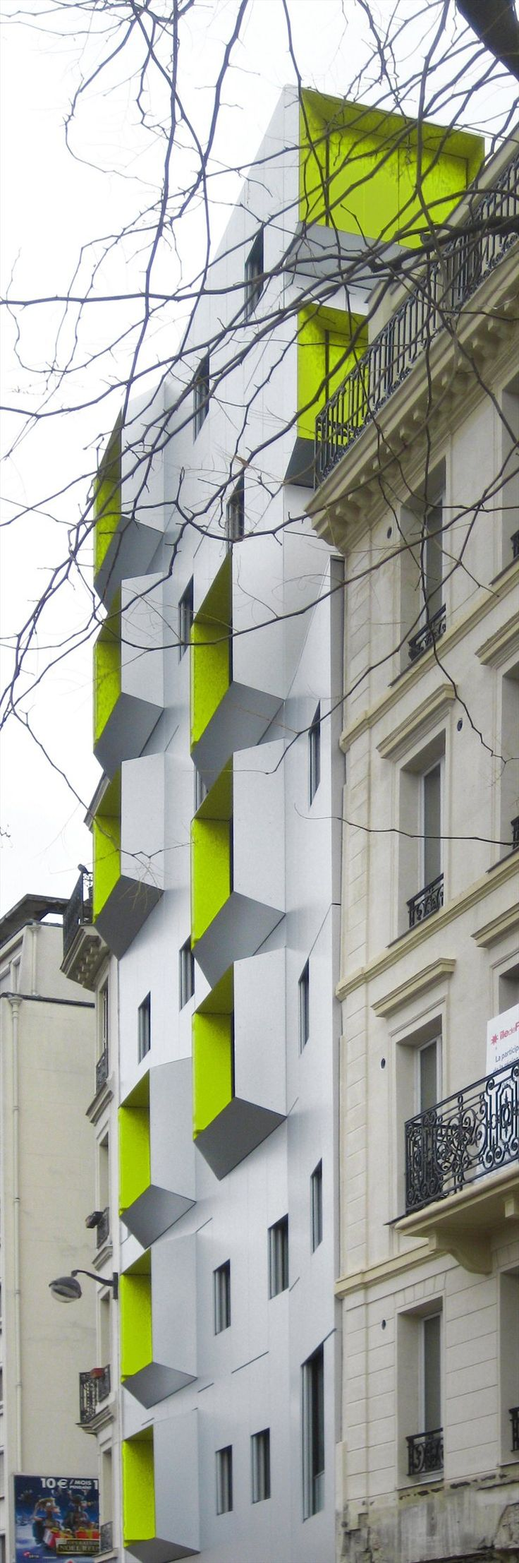 DPU Social Housing, Paris 18, 2009 by X-TU architects #architecture #socialhousing #colors #paris #france #fluo #neon
