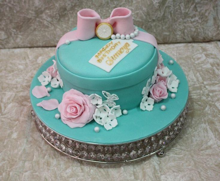 Light blue cake with pink roses - by House of Cakes Dubai @ CakesDecor.com - cake decorating website
