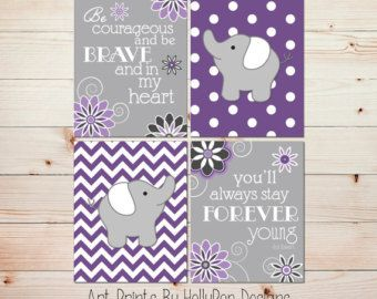 Baby Girl Nursery Decor Purple Aqua Teal Girls by HollyPopDesigns