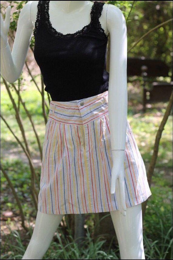 esprit short mini striped nautical skirt by MeriweatherVintage