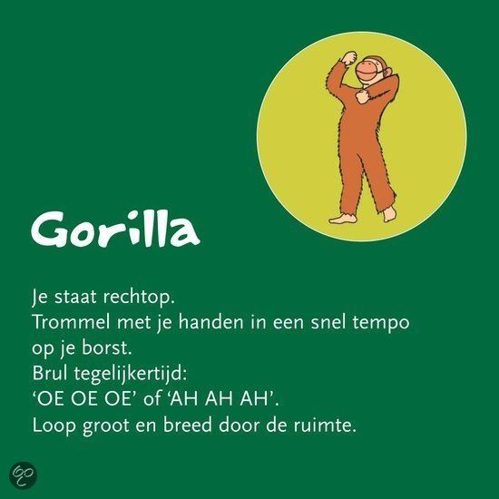 Begeleide of zelfstandige activiteit - Gorilla (kinderyogakaart Helen Purperhart)