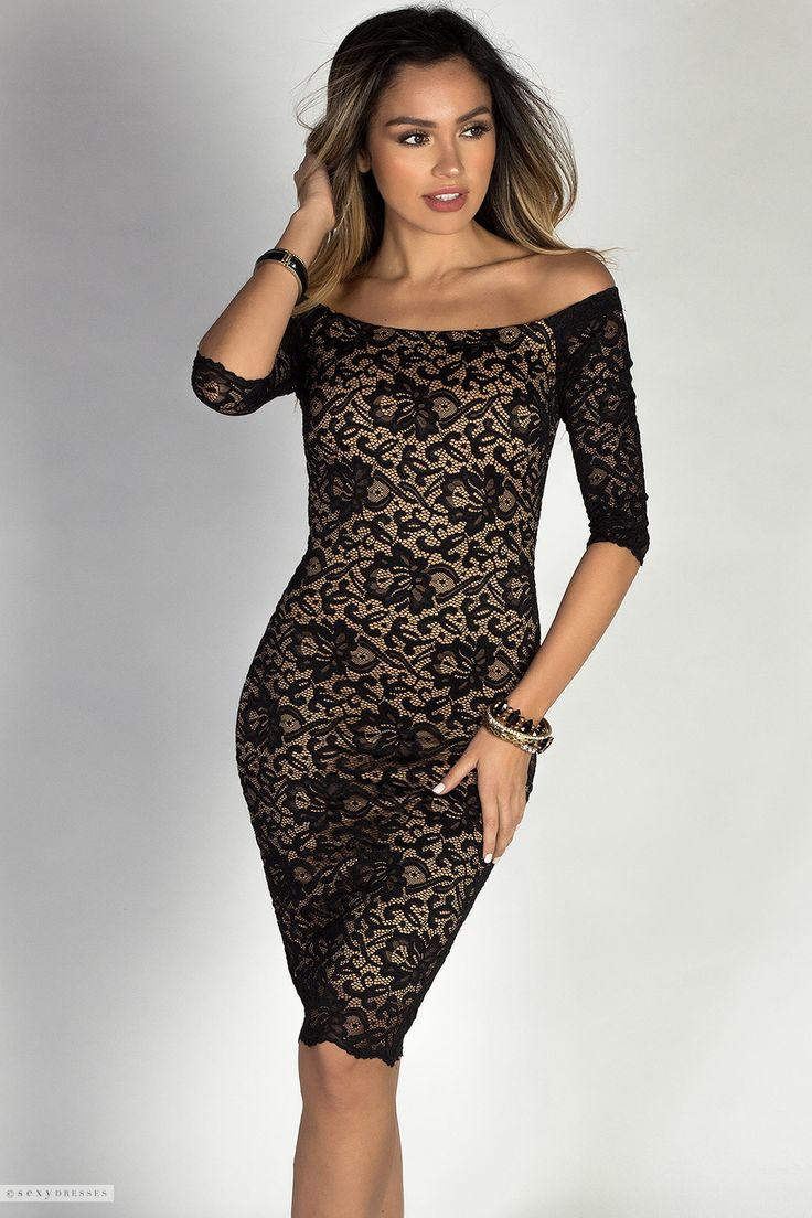 Beautiful Off Shoulder Black Lace Cocktail Dress with Sleeves