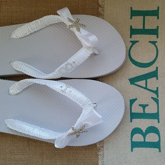 Starfish Wedding Flip Flop Starfish Bridal Flip by DanialyDreams, $38.00