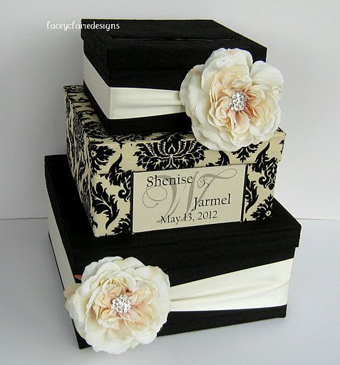 Card Box Damask Wedding Card Holder Custom by LaceyClaireDesigns, $112.00