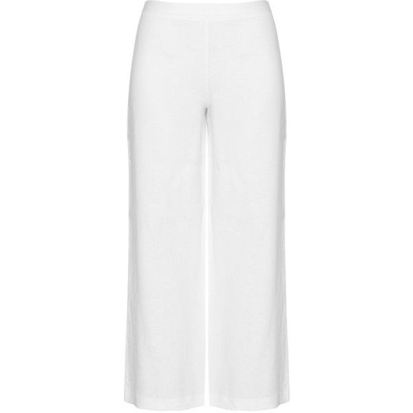 navabi White Plus Size Wide cut linen trousers ($125) ❤ liked on Polyvore featuring pants, plus size, white, linen pants, wide-leg trousers, plus size summer pants, wide leg trousers and white linen pants