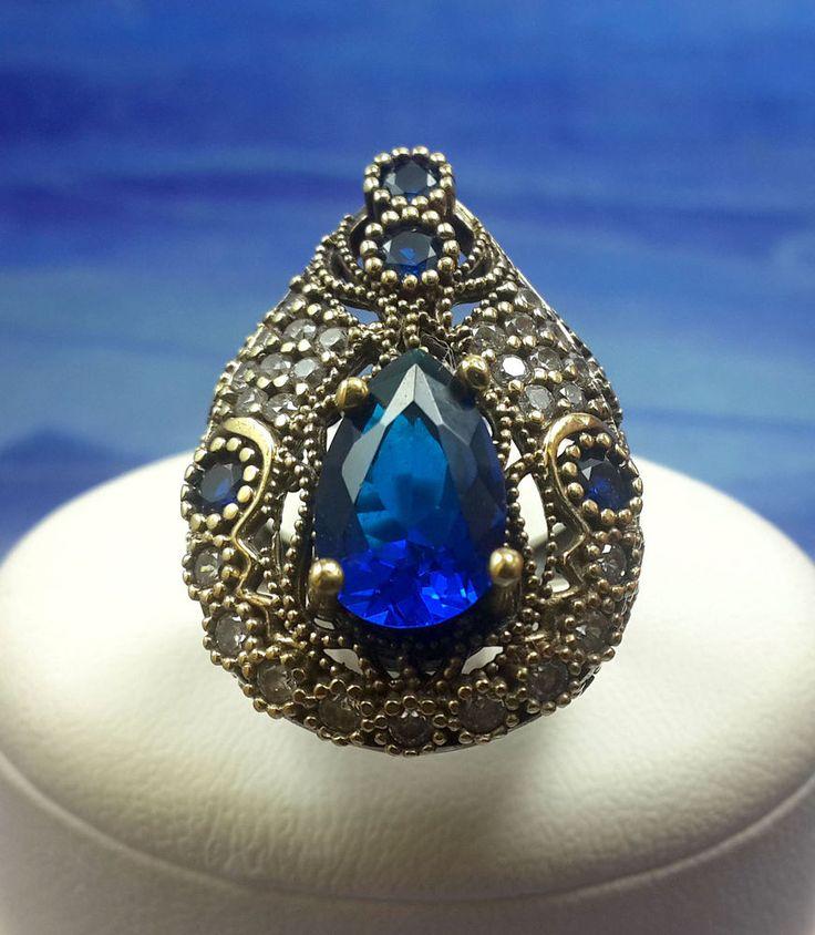 PLUMER! Turkish Topaz Sapphire Stone 925K Sterling Silver Ring Size 7.75 #Handmade #RingHarness