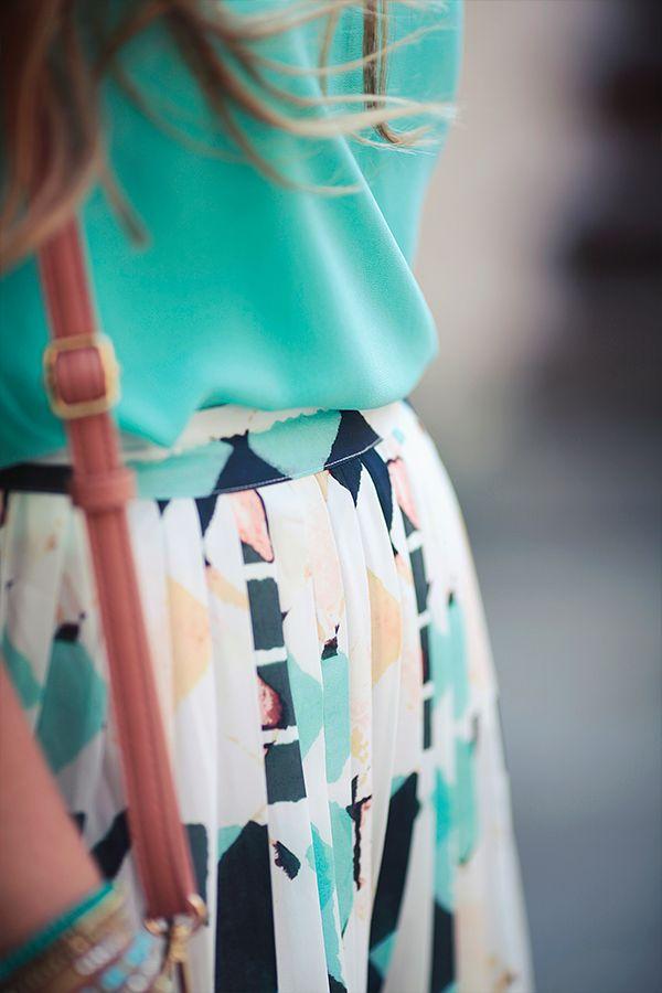 Watercolor Dreams Midi Skirt