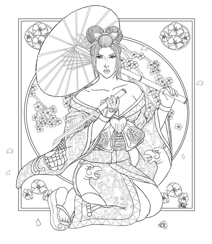 Japanese Kimono Designs Coloring