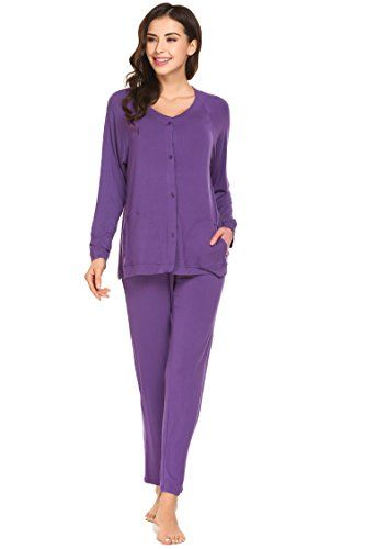 bc2880191b Ekouaer Womens Pajamas Set Button Down Long Sleeve PJS Top and Pants  Sleepwear Purple M   Visit the image link more details. (This is an  affiliate link)