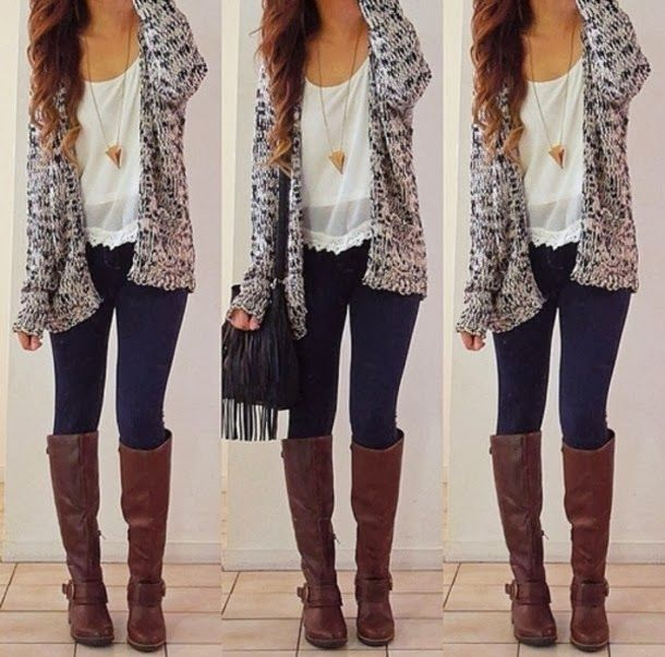 I like the cardigan and the long necklace with the brown boots