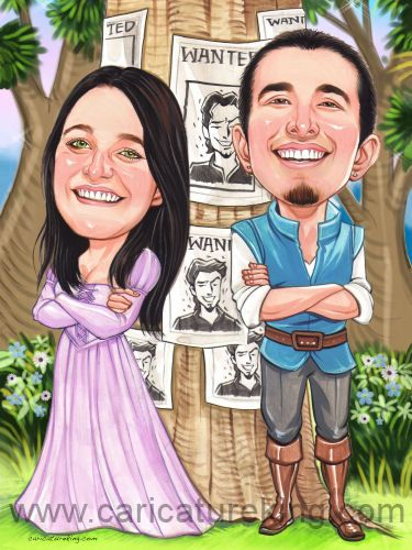 Caricature of a couple portrayed as Flynn Rider and Rapunzel  #engagementinvitation #engagementannouncement #caricatureart
