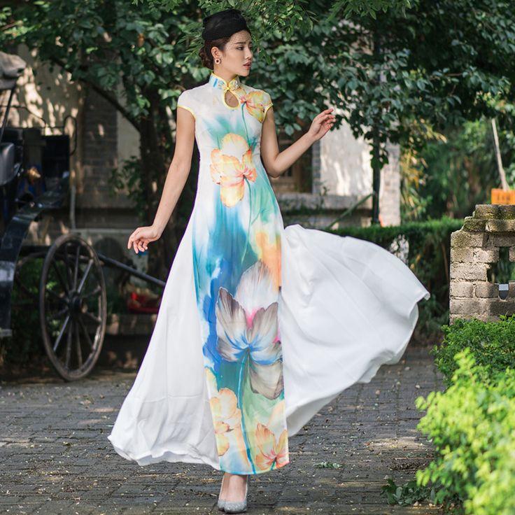 オリジナルベトナムaodai優雅なスタンド襟ローブエレガントなデザイン花ファッション高品質に改善チャイナドレス(China (Mainland))