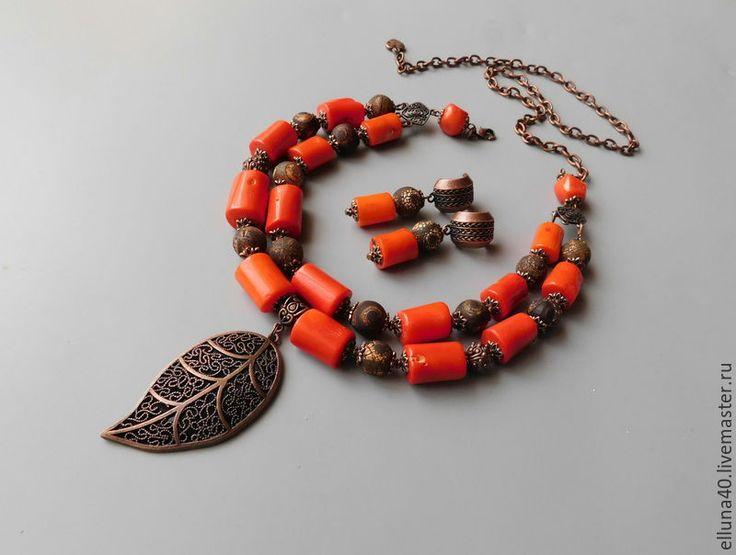 Купить Колье и серьги из коралла и агата - рыжий, оранжевый, коричневый, коралл натуральный, коралловые бусы