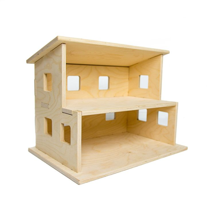 """The perfect transitional dollhouse for open ended fun! Keep its simple modern styling or paint it to your preference. The Dollhouse is about 17"""" long, 13"""" wide and 13.25"""" tall total. The bottom level"""