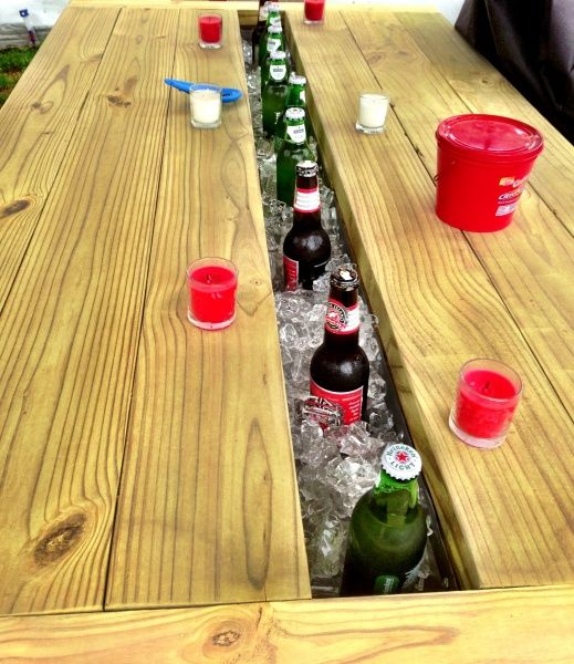 We LOVE this outdoor table with built-in coolers!