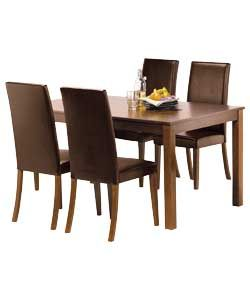 Hampton Walnut Stain Table and 4 Chocolate Midback Chairs.