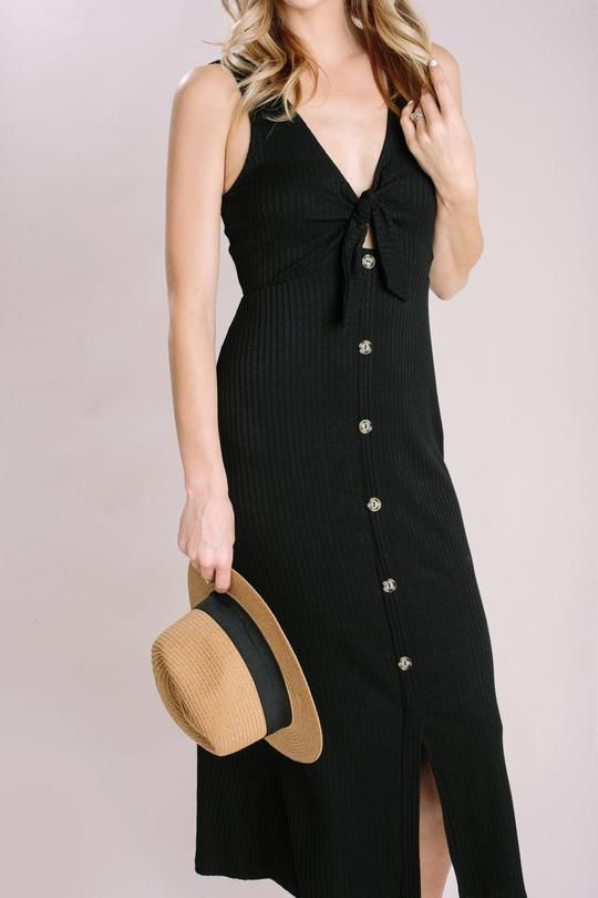 86a7d5be4aad Shop the Karen Black Ribbed Button Midi Dress - boutique clothing featuring  fresh