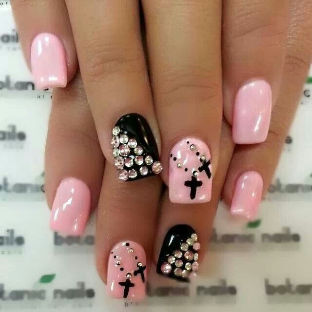 Pink and black cross nails - 27 Best Arcylic Nails Images On Pinterest Nail Scissors, Perfect