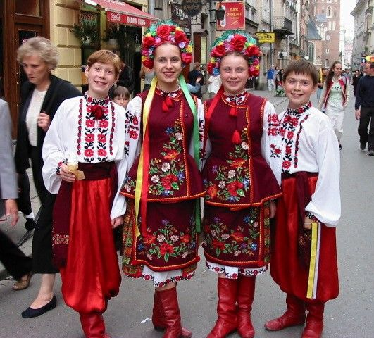 Ukraine:  Ukrainian costumes, like their culture, are linked to other Slavic ones, particularly Russian, but their distinct historical hardships due to national, religious, and socioeconomic conflicts has caused the formation of a separate Ukrainian identity. Due to changing political boundaries and migration, ethnic Ukrainian minorities (Rus, Ruthenes, Rusyn) populate some of eastern Poland, Moldova, Romania, and Russia. There is blatant variation across these regional communities.