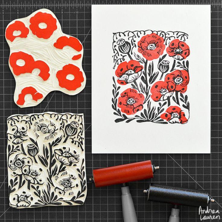 Poppies : Original Block Print by Andrea Lauren via Andrea Lauren. Click on the image to see more!