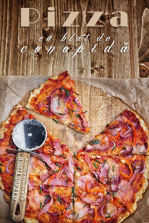 Pizza cu blat de conopida - un fel de pizza mai dietetic, cu blat din conopida, ou si cascaval, iar toppingul poate varia dupa preferinte.