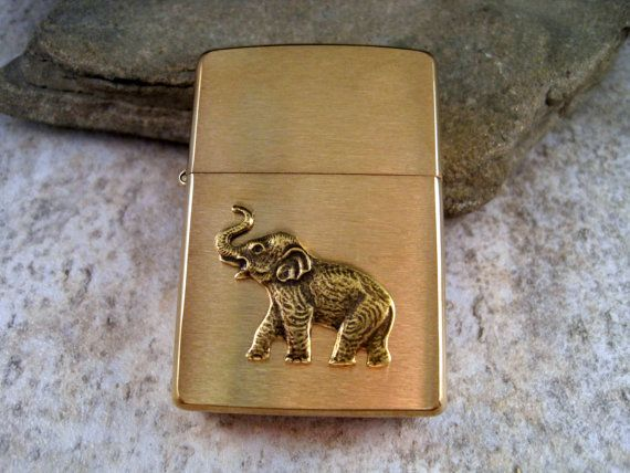 Genuine Brushed Gold Zippo Steampunk Lucky Elephant Cigarette Lighter