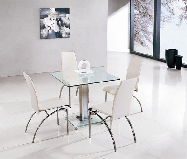 Jet Ice Square Glass Dining Table And 4 Chairs Furniture Italia