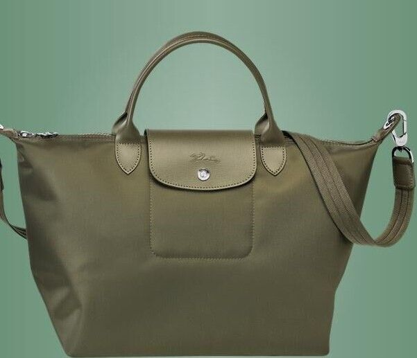 Longchamp Le Pliage Neo Nylon Green Handbag With Shoulder Strap Size Medium