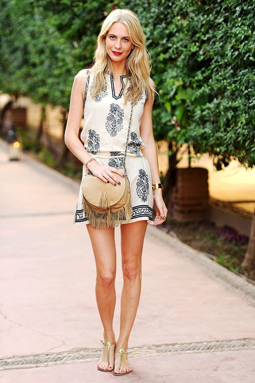 Boho Street Style Inspiration: Poppy Delevigne in a Bohemian Printed Mini Dress and Fringe Bag #johnnywas