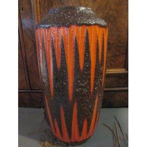 Scheurich orange flash Lava vase...West Germany