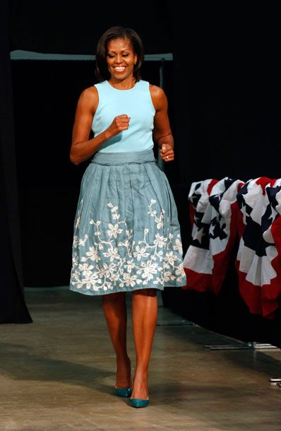 LOVE this Talbot skirt the First Lady wore speaking to a crowd of supporters during a campaign stop at the Dayton Convention Center in Dayton, Ohio.
