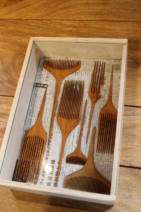 vintage handcarved Japanese combs.